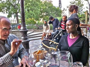 Warren and Julie at our terrace dinner across from Notre Dame
