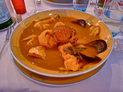 The elaborate bouillabaisse at Restaurant Miramar