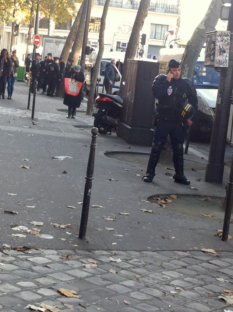 Gendarmes are out in force near Place de la Republique