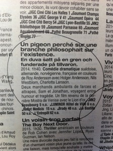 """Un Pigeon"" listing in Pariscope"